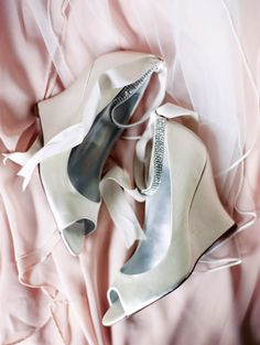Beautiful White Wedges with Rhinestone straps perfect for a bride on her big day!