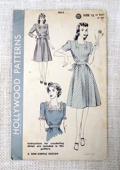 One piece dress with or without crocheted yoke and cuffs (crochet directions included). An inset belt joins the skirt and blouse in from --