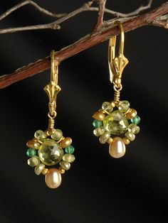 Green and Peridot Earrings - idea photo only. Don't like ear wires though