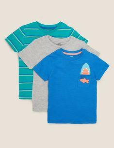 3pk Cotton Patterned T-Shirts (2-7 Yrs) | M&S Cut Clothes, Suit Shop, 6 Years, Lounge Wear, Kids Fashion, T Shirt, Shark, Fish, Mens Tops