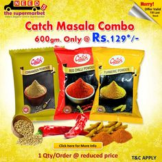 Now #Combooffer running on #NeedsTheSupermarket - Online #grocery Store :) #Catch Masala Combo offer @ 129.00