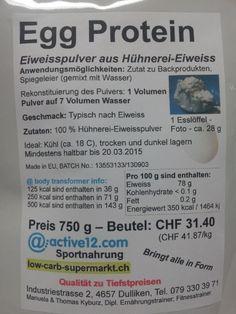 Egg Protein (Eiweiss-Pulver vom Weissen vom Ei) leichte Preissenkung, neu 750g CHF 30.80 (sehr lange haltbar)
