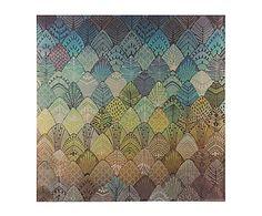 Impresión sobre lienzo Hojas, azul - 80x80 cm