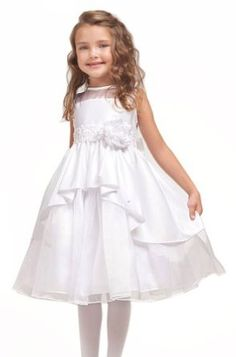 Amazon.com: KID Collection Girls White Flower Girl Communion Dress Sizes 2 to 10: Clothing