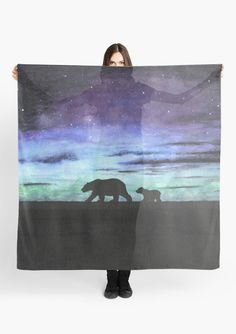 """""""Aurora borealis and polar bears (dark version)"""" Scarf by Savousepate on Redbubble #scarf #clothing #watercolorpainting #blue #purple #green #black"""