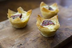 Preheatthe oven to 350 degrees F. Brush the cups of a 12-cup muffin tin with 1 tablespoon of the melted butter. On a clean work surface, lay out your first sheet of phyllo pastry. Gently brush it all over with 1 tablespoon of the melted butter. Place the second sheet on top and brush with …