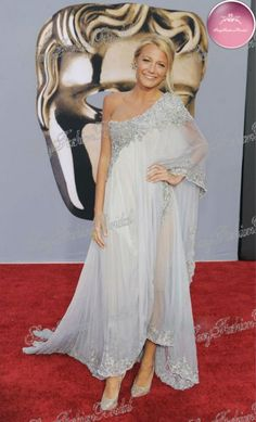 Blake Lively in Marchesa one shoulder long sleeve lace dresses #5