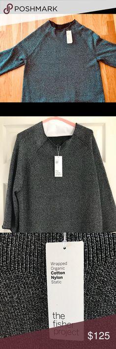 EILEEN FISHER Organic cotton funnel neck sweater Light grey organic cotton sweater; 3/4 length sleeves, large, hip length. Eileen Fisher Sweaters
