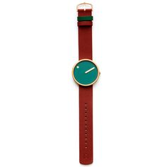 Picto (dusty green/red) by Rosendahl at Dezeen Watch Store: http://www.dezeenwatchstore.com/shop/picto-dusty-green-red/ #watches