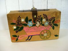 Vintage 1960s Wooden Box Purse - Painted Wheelbarrow - Missing Handle