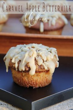 Caramel Apple Buttermilk Muffins - Tastes of Lizzy T's #fall #recipe #breakfast #food #bake