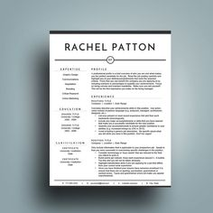 Professional Resume Template  Cv Template  Simple Resume Cover
