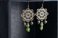 Gypsy Boho Earrings with Vintage Green Glass Beads by GypsyInMyBlood