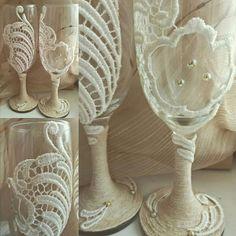 Купить Бокалы кружевные - бежевый, рустикальная свадьба, свадебные бокалы, деревенский стиль, джутовый шпагат