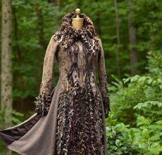 Sweater COAT tailored felted brown textured corset door amberstudios
