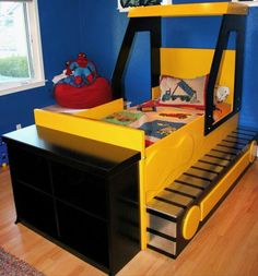 Bulldozer bed Car Themed Bedrooms, Bedroom Themes, Kids Bedroom, Boys Construction Room, Tractor Bed, Baby Boy Rooms, Toddler Rooms, Toddler Bed, Bed With Slide