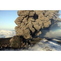 Aerial view of ash cloud eruption from Eyjafjallajokull Volcano Iceland Canvas Art - Richard RoscoeStocktrek Images (18 x 12)