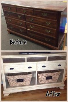 Dresser turned into TV stand only with a different finnish  Think we are going to do this with Gma Drezzer @sharonhenninger by TRENDY N STYLES