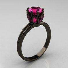 Klassische 14K Schwarz Gold Marquise 1,0 Carat Round Pink Saphir Solitaire Ring R90-14KBGPS