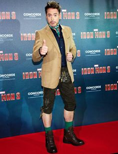 RDJ in lederhosen!  I love him. Only he could pull this off and still look AMAZING!