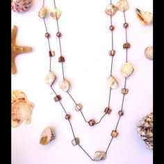 Boho babe Natural toned double layered necklace Faux pearl and sea shell beachy natural toned double layer necklace Jewelry Necklaces