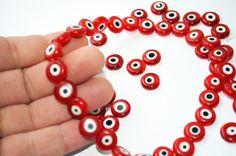 Evil Eye Beads For Necklace or Bracelet Red Eye Bead - Flat Round Eye Beads Pendant Lamp Work Glass Beads 12 mm Set of 15  Turkish Eye Beads