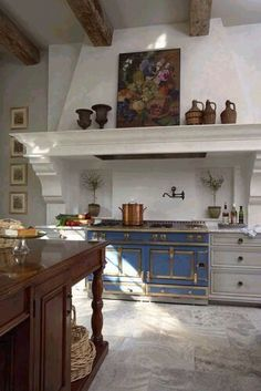 Love this kitchen and the blue La Cornue range and fantastic hood