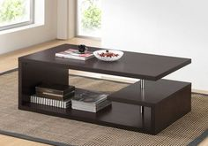 Finish off your contemporary seating area with the Baxton Studio Lindy Coffee Table . The asymmetrical coffee table features a full-length lower shelf. Cool Coffee Tables, Coffee Table Design, Modern Coffee Tables, Modern Table, Mesa Sofa, Center Table Living Room, Dining Room, Dining Chairs, Dining Table