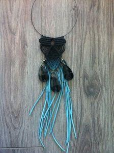 Image of Macrame fringe necklace teal & black Fringe Necklace, Macrame Necklace, Macrame Jewelry, Artemis Art, Plant Hanger, Teal, Necklaces, Jewellery, Image