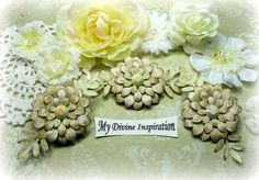 Beige and Ivory Paper Flowers and Paper Embellishments for Scrapbook Layouts Cards Tags Mini Albums Altered Art and Paper Crafts by mydivineinspiration on Etsy
