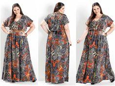 Vestido longo estampado Plus Size