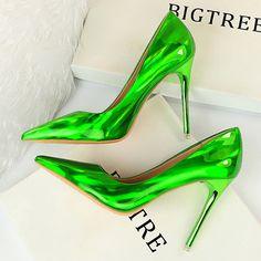 Sexy Green Neon Stilettos Neon Heels, High Heels Stilettos, Classy Heels, Women's Shoes, Dress Shoes, Wedding Shoes Bride, Bridal Heels, Swag, Silver Heels