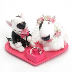 bull terrier wedding topper | Bull Terrier Lover Ceramic Wedding Cake Topper with Pink Heart Base ...