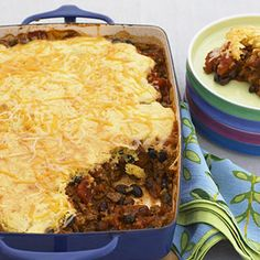 Taco Skillet Pie. This beef and bean skillet casserole is topped with cornbread. It's an easy dinner the whole family loves!