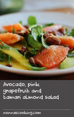 Avocado, pink grapefruit and tamari almond salad Fresh Cheese Recipe, Feta Cheese Recipes, Bean Salad Recipes, Flour Recipes, Quick Beef Recipes, Wrap Recipes, Grapefruit Recipes, Pink Grapefruit