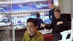 Behind the scenes of Star Trek where our young Captain Kirk is wearing a silly laugh! Star Trek 2009, New Star Trek, Star Trek Beyond, Star Wars, Science Fiction, Star Trek Crew, Roman, Star Trek Reboot, Star Trek Cosplay
