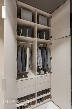 PRZEDPOKOJE Komandor / szafy z frontami uchylnymi z akrylu Corridor, Organization, Interior, Closet, Home Decor, Luxury Closet, Closets, Living Room, Getting Organized