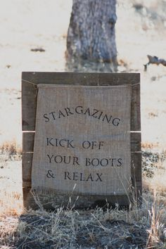 Cute idea for a country wedding... set up a star gazing area for guests. Kick off your boots and relax!
