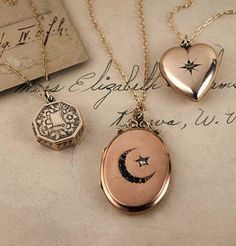 These ADORBS late 1800's Gold Locket Necklaces $295.00-$595.00 SIMPLY CUTE!!!
