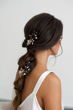 Boho Hochzeit Stile - # Boho - Wedding Makeup For Fair Skin - Hochzeitsfrisuren-braided wedding updo-Wedding Hairstyles Loose Wedding Hair, Wedding Braids, Long Hair Wedding Styles, Wedding Hair And Makeup, Long Hair Styles, Korean Wedding Hair, Wedding Party Hair, Wedding Hair Clips, Wedding Dresses