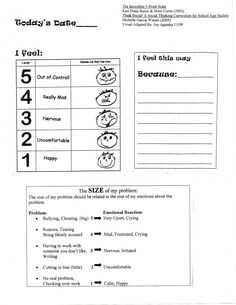 Big Problem Little Problem worksheet adapted from Social Thinking and the incredible 5 point scale.