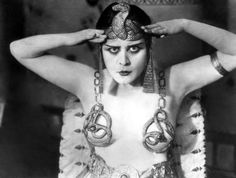 Theda Bara in Cleopatra, directed by J. Gordon Edwards, 1917. Snake ring brassiere and head piece by Adolf Feil.