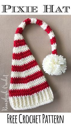 Crochet Stitch Crochet Pixie Christmas Hat Pattern - A roundup of 10 free crochet hat patterns for Christmas! Make these crochet Christmas hats for yourself or loved ones as awesome gifts! Crochet Christmas Hats, Christmas Crochet Patterns, Christmas Gifts, Baby Christmas Hat, Bonnet Crochet, Crochet Beanie, Crochet Scarfs, Crocheted Hats, Booties Crochet