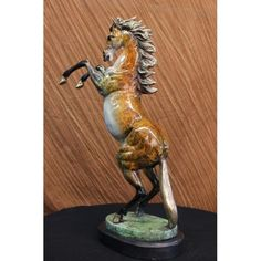 ON SALE !!! Beautiful Large Vienna Bronze Rearing Horse Sculpture Marble Base Signed Figure...This Piece, Which Has Been Crafted With Exquisite Detail, Features A Rambunctious Horse In A Standing Pose. Due To Its Natural Companionship With Man In Both Work And Art, The Horse Has Always Held A Special Places In History, Ranking High Marks Of Honor, Reverence And Symbolism. Serving Man In War, Mobility, Productivity, Agriculture, Development Of All Kinds, The Horse Is By Far One Of The Largest…