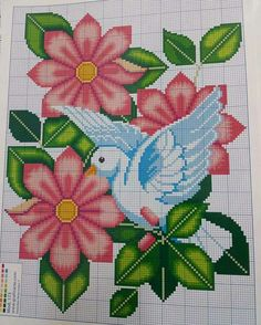 Church dove and flowers cross stitch.
