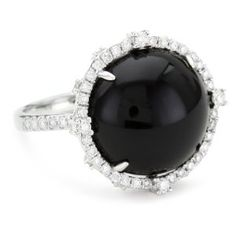 """Katie Decker """"Gothic"""" 18k White Gold and ouDiamond Black Onyx Ring....................Wear this with your BLACK KNIGHT POLISH------->"""