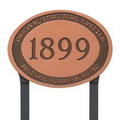 Montague Metal Products Historical Address Plaque Finish: Black/Copper