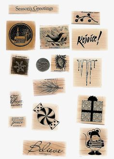Rubber Stamps - Wood Mounted - Christmas
