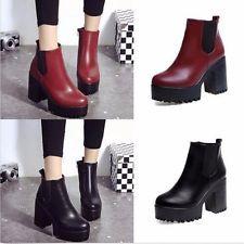 Invierno Mujer Chelsea Bloque Grueso Zapatos al tobillo con plataforma  Tacones Altos Con Cremallera Cremalleras d0b60d8990e