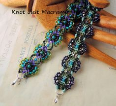 Floral micro macrame bracelets in teal, purple and olive by Knot Just Macrame - #beads #macrame #micromacrame